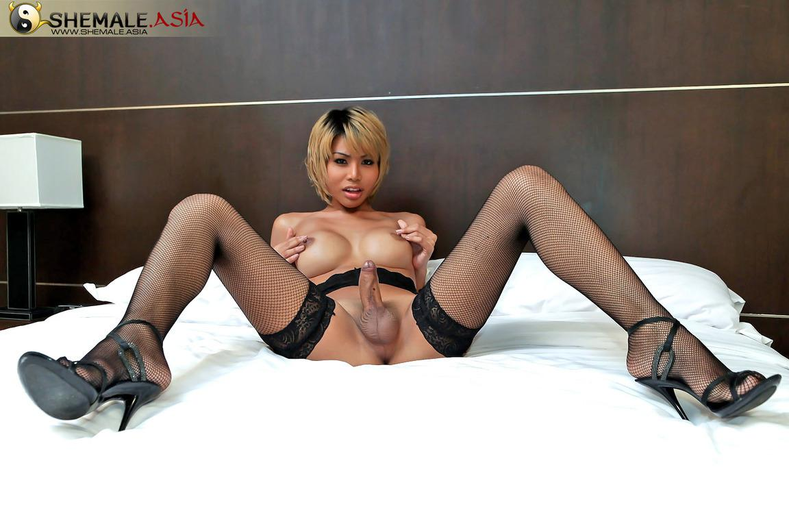 Femboy In Lingerie Posing And Teasing Her Penis