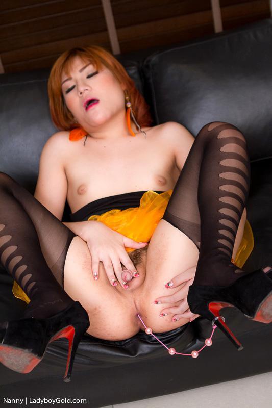 Gorgeous Tattoed Asian Ladyboy Bitch Riding A Enormous Black Dildo