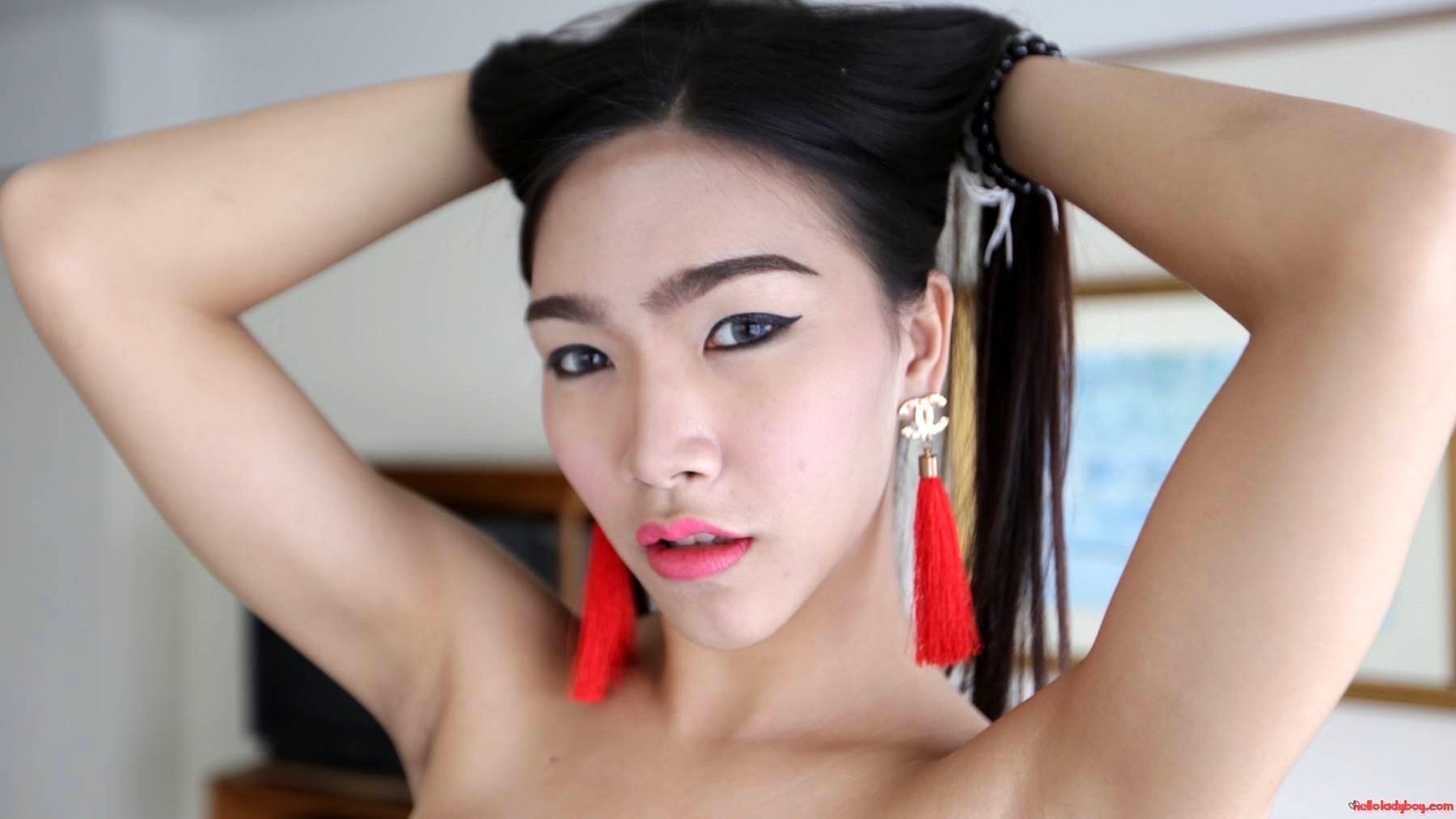 Asian Tgirl Pinky On Toilet