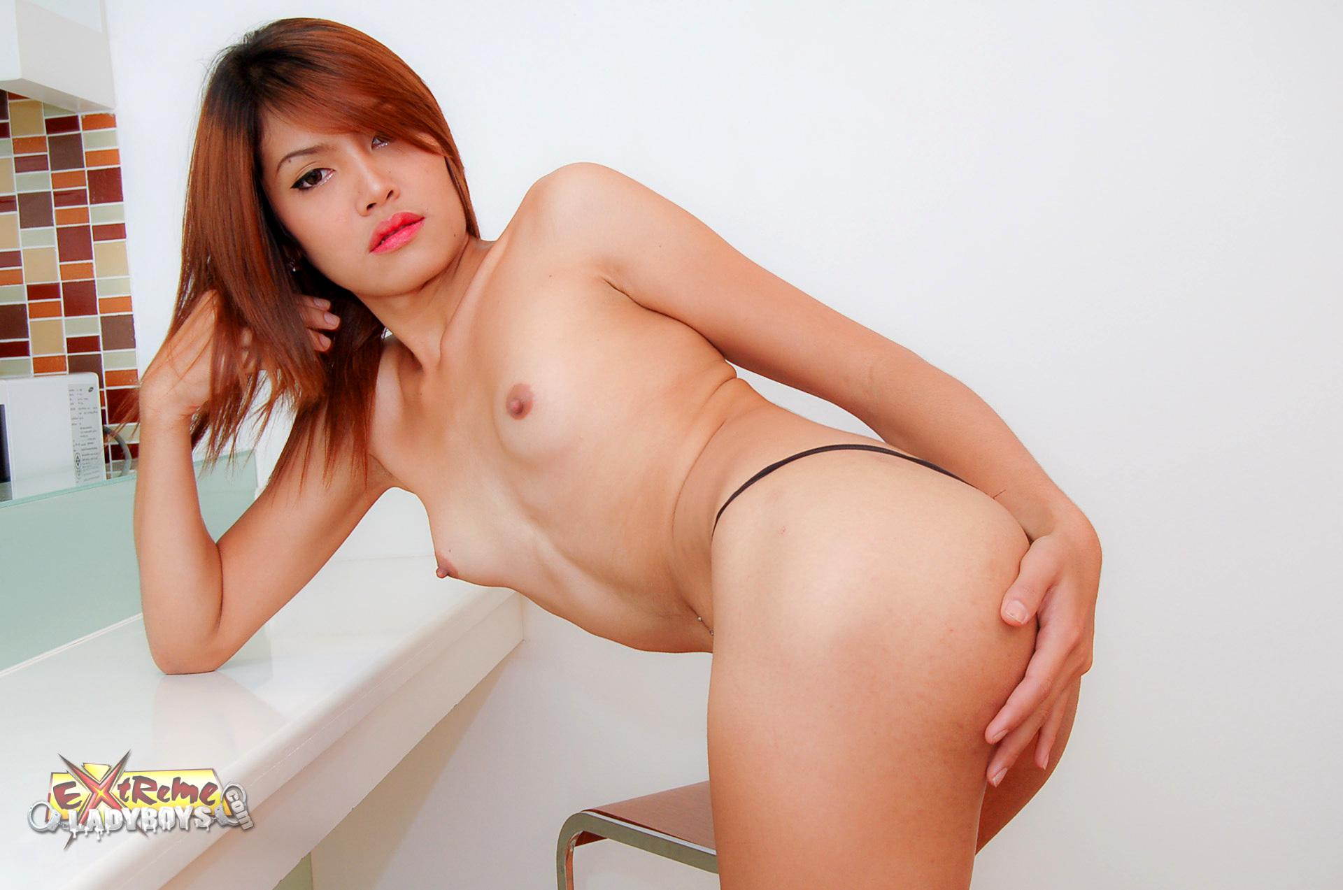 Thai Transexual Pinky Plays With Anal Beads